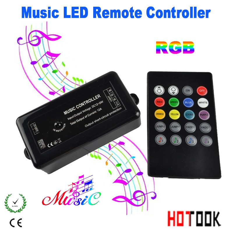 RGB LED Controller Music + remote control 20keys DC12V-24V led dimmer 3 Channel switch mando strip 5050 3528 - HOTOOK Official Store store