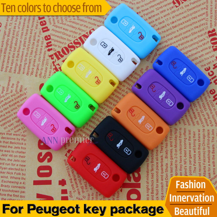 Car Silicone Remote Key Fob Cover For Peugeot 107 207 307 407 308 607 Citroen C1 C2 C3 C4 C5 C6 C8 3 Button Car Styling(China (Mainland))