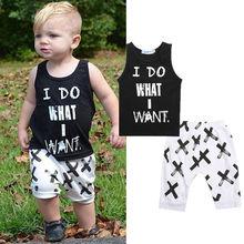 2016 2pcs Lovely Toddler Baby Boys Clothes Sets Cotton Tops Vest Tee T-Shirts + Short pants Shorts Letter Black 2pcs Outfits Boy