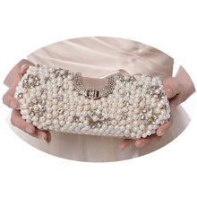 Noble Lady Pearl Evening Clutch Bags Famous Brand Women Crystal Hand Bag Bridal Wedding Dinner Party Chain Mini Bag bolso XA597H