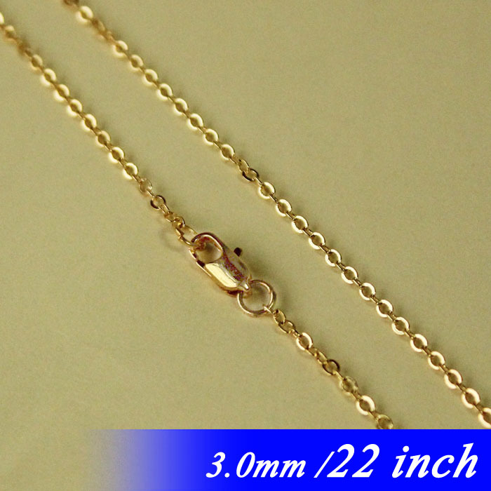 22 Gold Plated Findings For Metal Jewellery Links Pendants With Square Clasps New 3mm Flat Cable Fashion NecklaceChaines diy<br><br>Aliexpress