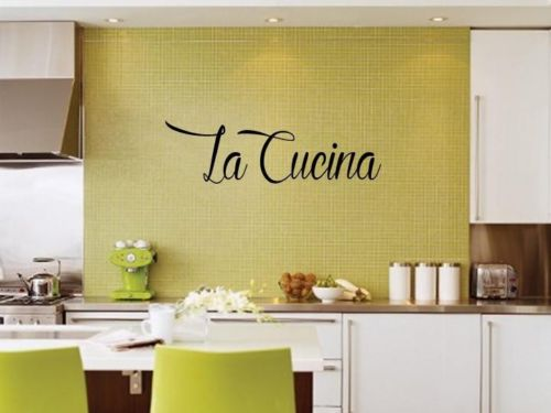 D225 LA CUCINA THE KITCHEN ITALIAN WORDS DECAL STICKER VINYL WALL LETTERING(China (Mainland))