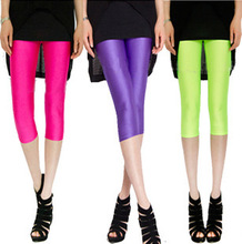 Summer Women Leggings Fashion Candy Color Fluorescence High Waist Skinny Leggings(China (Mainland))