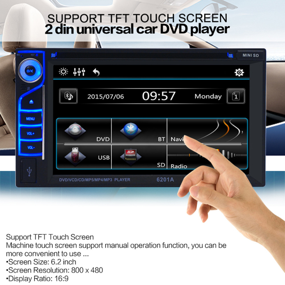 catuo 6.2 Inch TFT Audio DVD SB / SD Bluetooth 2-Din Car CD Player Automatic Memory Play Car DVD Player 12V