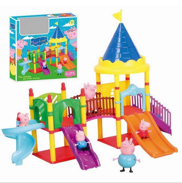 Peppa Pig parque de atracciones conjunto de juguete de regalo navidad niños playset con 4 figuras(China (Mainland))