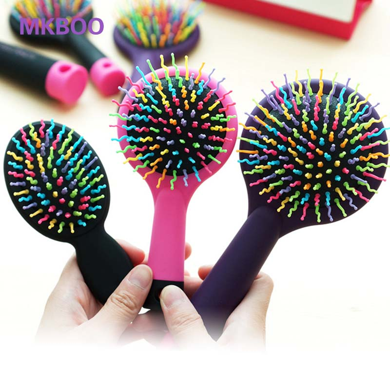 New Arrival Rainbow Anti-static Magic Hair Curl Straight Massage rainbow Comb Brush Mirror Hair Styling Tools wholesale price(China (Mainland))