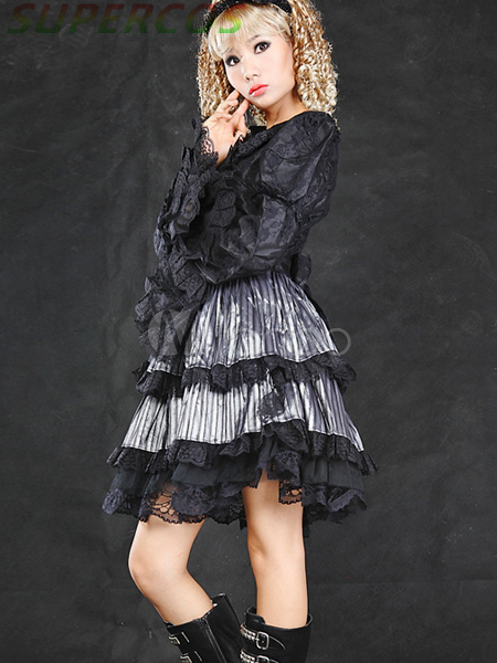 Free shipping! New Arrivals! High Quality! Punk Silver Long Sleeves Cotton Blend Lolita Dress