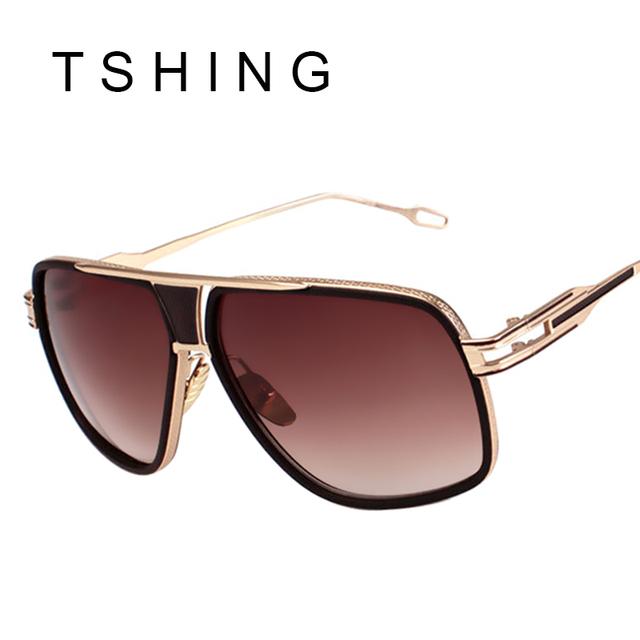 Новинка квадратные очки мужчины люксовый бренд дизайнер золото металлический каркас ...