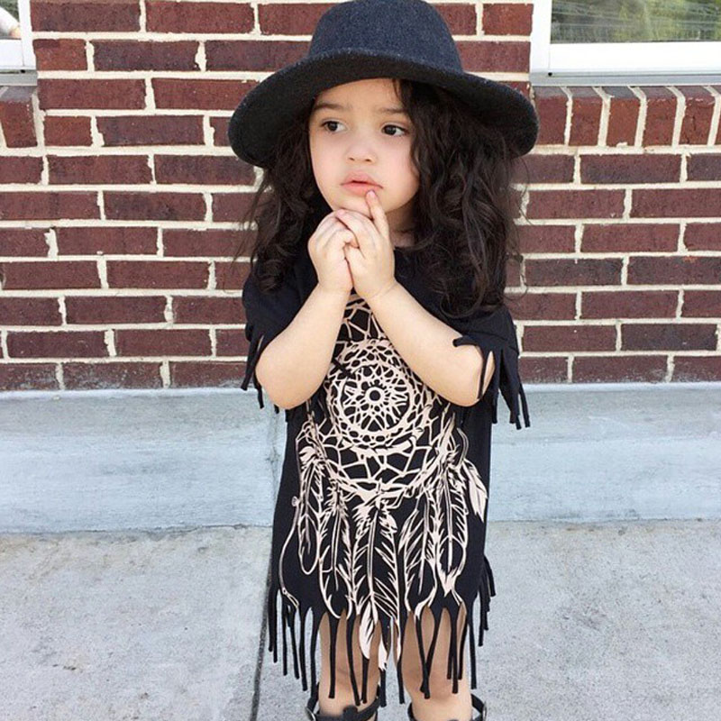 Girls Dress 2016 new spring summer style children's clothing personality style casual baby black wild fringed dress 2-5Y(China (Mainland))