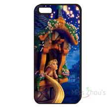 For iphone 4/4s 5/5s 5c SE 6/6s 7 plus ipod touch 4/5/6 back skins mobile cellphone cases cover Tangled Rapunzel New Black