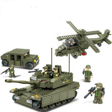 Compatible Legoe Sluban Military Toys Army troops Educational Heavy Tank Hummer Helicopter 6 Soldiers Bricks Building Block