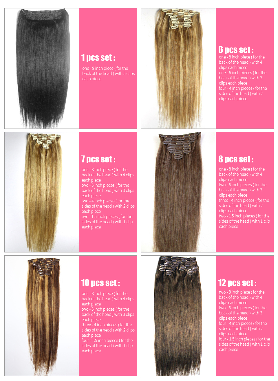 ZZHAIR 16″ 41cm 100% Brazilian Hair bandage Ponytail Horsetail 60g Clip In Human Hair Extensions Straight hair Non-remy