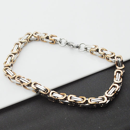 Stainless Steel Byzantine Chain Mens Bracelet Fashion Jewelry Retail Wholesale Free shipping pulseira masculina VB105
