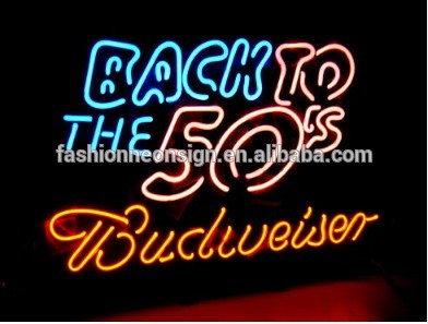 FS Neon Sign Budweiser Back To The 50's Handcrafted Real Glass Neon Light Sign Beerbar Sign Neon Beer Sign 24x20.Super Bright!(China (Mainland))