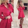 2016 New Women Autumn Fashion Small Dots Printed Shirt Dress Fall Casual Long Sleeve Sexy