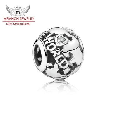 Fine jewelry New sterling-silver-jewelry making charms 925 sterling silver jewelry travel charm fit bead bracelet DIY MN685