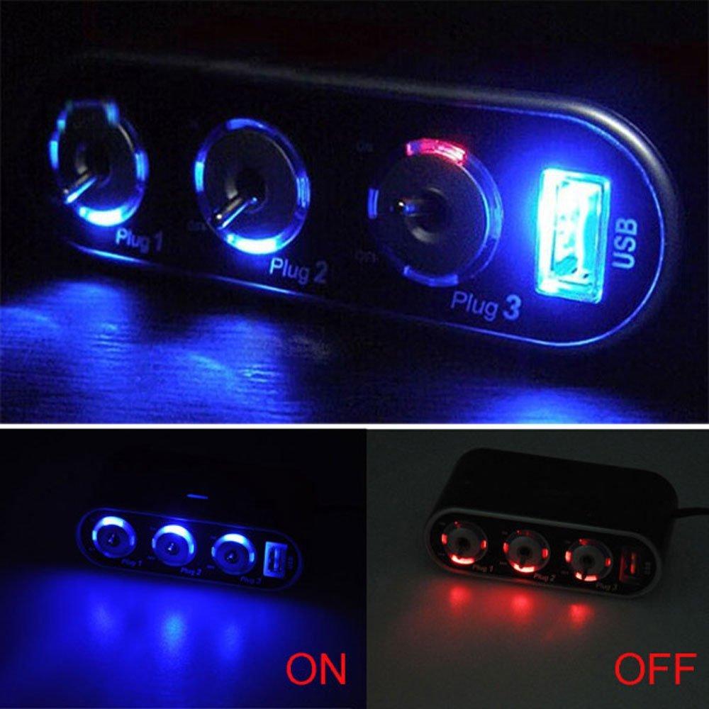 Car Accessories Automobile Car Cigarette Lighter 3 Way Splitter Adapter +USB+LED Light DC12V Port(China (Mainland))