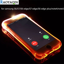 Buy Fashion Soft TPU LED Flash Light Case Coque Samsung Galaxy S6 S7 edge Plus Note 4 Note 5 Remind Incoming Call Cover Shell for $1.30 in AliExpress store