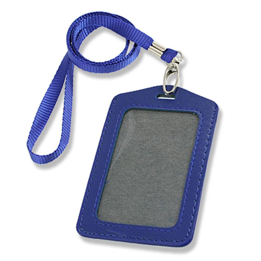 Гаджет  2015 Hot  Blue Faux Leather Badge ID Card Vertical Holders Neck Strap 2 Pcs None Камера и Сумки