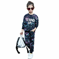 2016 Autumn Winter Style Baby Girls Graffiti O neck 2pcs set Kids School Tracksuit Uniform Sport
