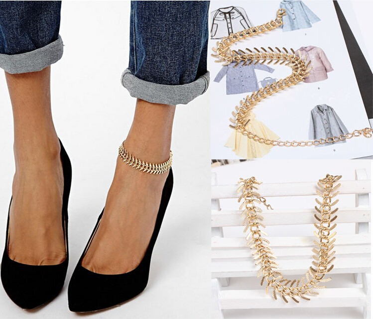 New Fashion Foot Jewelry Chain Link Anklets Women Girl Gold Plated For Parties Anklet Bracelets Free Shipping