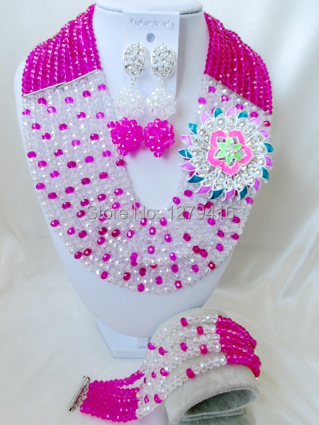 Popular 2014 classic wedding jewelry, crystal beads, Nigeria Africa pink loose bead styles, necklace, bracelet set  A2<br><br>Aliexpress