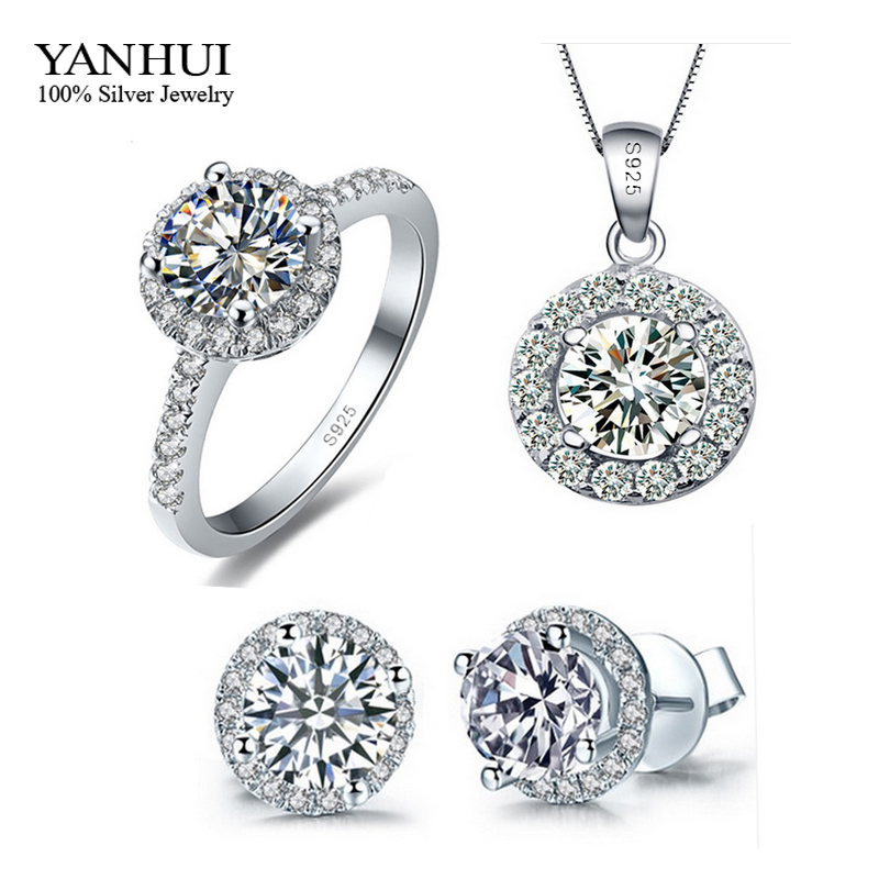 Promotion Genuine 925 Sterling Silver Jewelry Sets Silver CZ Diamond Ring Necklace Earrings Bridal Wedding Jewelry Sets TZ001(China (Mainland))