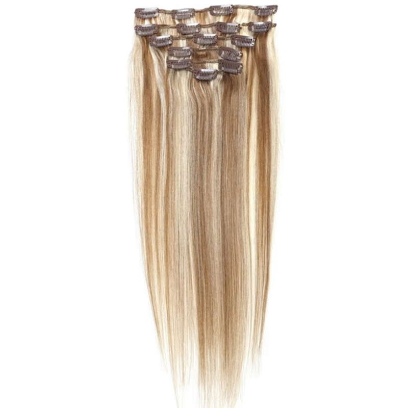 Best Sale Women Human Hair Clip In Hair Extensions 7pcs 70g 15inch Light-brown + Gold-brown