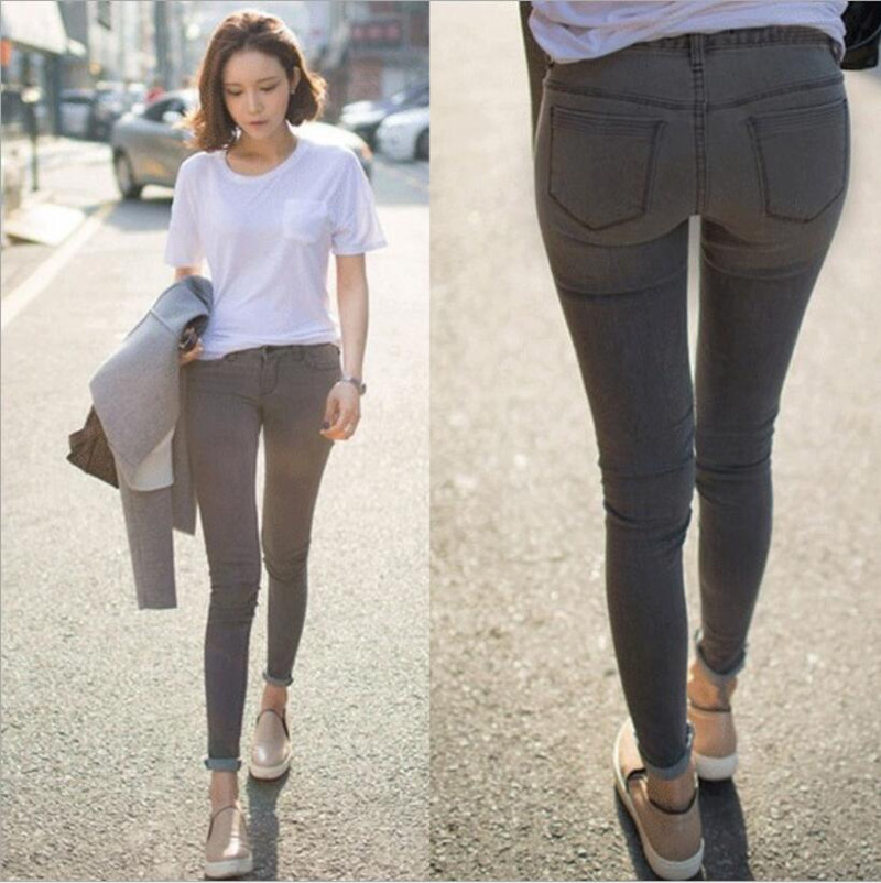 2015 Thick High Waist Women Jeans Stretch Skinny Pencil Pants Black Color Casual Denim Plus Size Pant Tight Slim Female Trousers