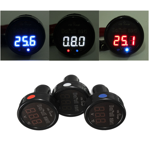 New 3 IN 1 White Red Blue Display LED Car Digital Thermometer Voltmeter USB Charger Charger for Nokia for IPhone 6 for Ipod etc<br><br>Aliexpress