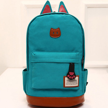2016 campus School bag girls backpack women travel bag of young men canvas backpack outdoor sports bags Cat ears cartoon package(China (Mainland))