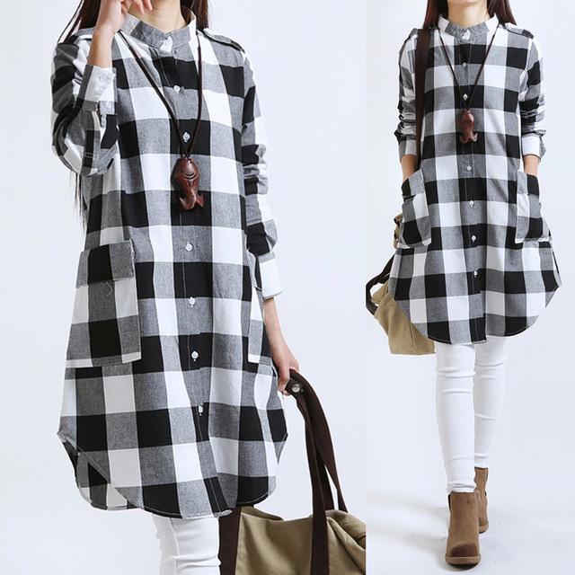 Большие размеры женской одежды плед блузки с длинным рукавом женщины блузки хлопок ...