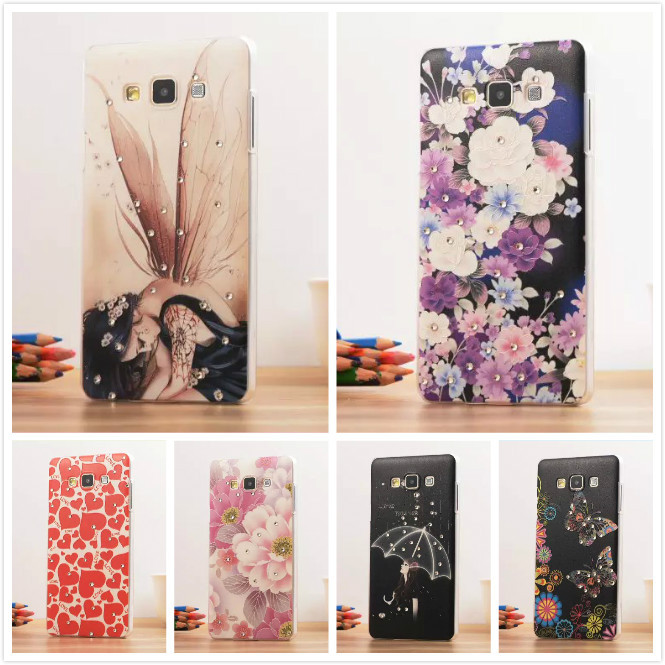 12 Pattern, A3 2015 Fashion 3D Diamond Dimensional Relief Painted Case Cover For SAMSUNG GALAXY A3 A300 A3000 Mobile Phone Bag(China (Mainland))