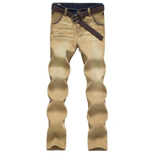 Мужская свободного покроя micro-стретч хлопок джинсовые брюки тонкий сращены лоскутное ...