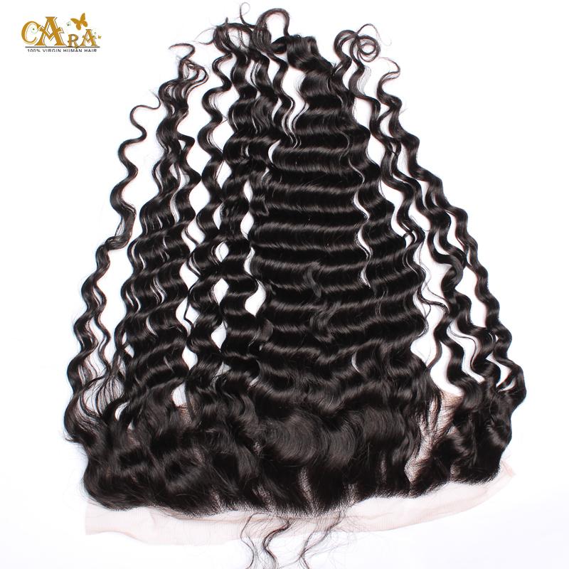 Brazilian Deep Wave  Full Frontal Lace Closure 13x4 Bleached Knots 6A Top Grade Brazilian Virgin Hair Lace Frontal Closure<br><br>Aliexpress