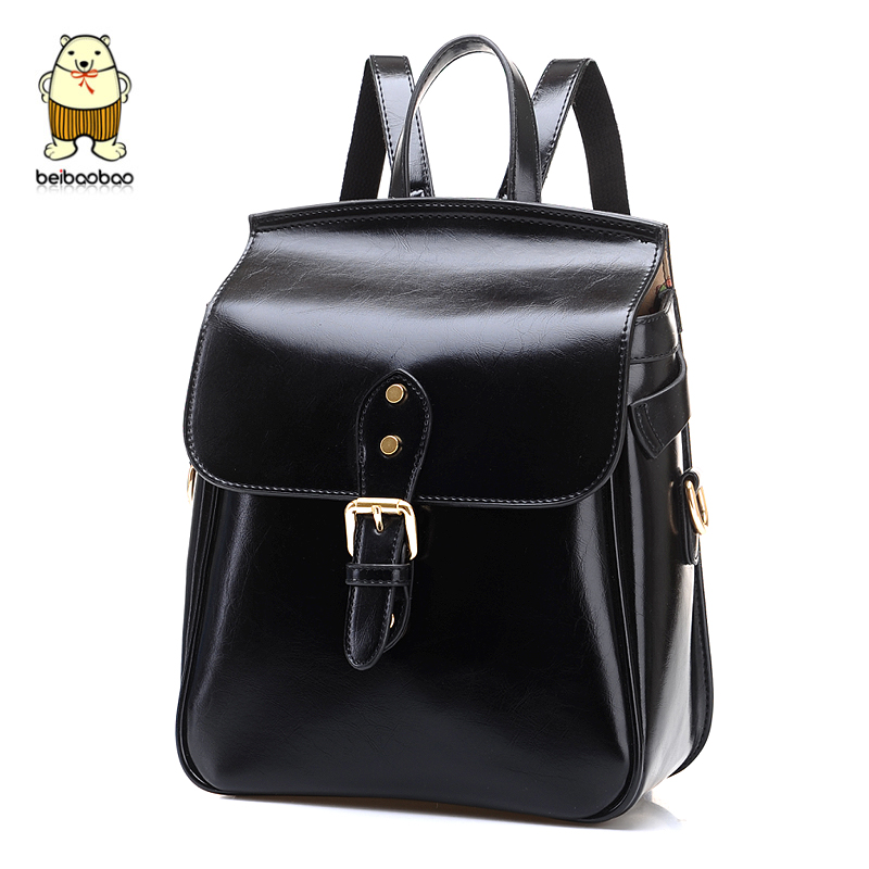 2014 Fashion backpack vintage preppy style female lady Large Pocket Sizewomen black leather women's - fashional accessories store