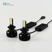 1 conjunto C2 H7 72 W LED auto phares 6600LM LED tête lampe 6000 k LED phare de voiture lampe ampoule DC9-16V