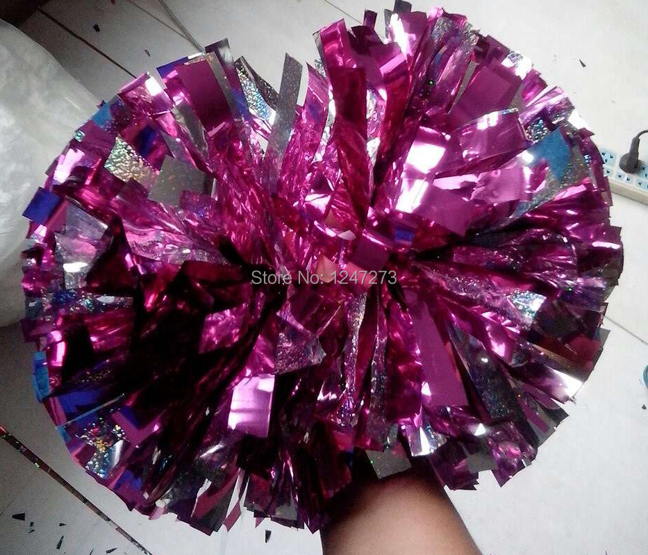 """pom pom cheerleader pom pom holographic silver and metallic hot pink 1,000*3/4"""" wide streamers 6"""" sizes(China (Mainland))"""