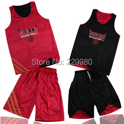 Hot Style Red Men's Double-Sided Wear Basketball Jersey Suits Clothing Set Shirt + Shorts Training Suit - Children Jerseys store