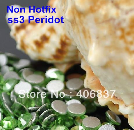 Free Shipping! 1440pcs/Lot, ss3 (1.3-1.5mm) Peridot Flat Back Non Hotfix Nail Art Rhinestones(China (Mainland))