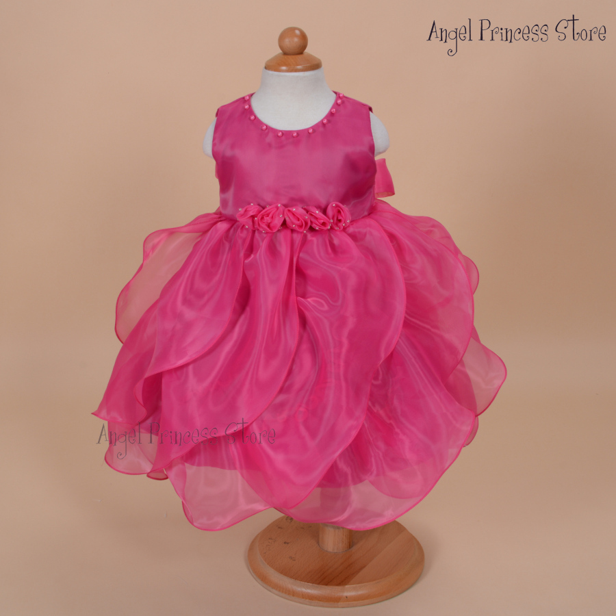 DF07 Hot Pink 2015 Flower Girls Party dress Pageant summer Dance fomal Princess Dress 1-7 Years 12 18 24MONTHS 3T 4T 5T 6T 7T - APS DRESS store