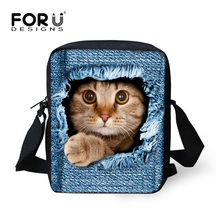 Women Ladies Messenger Bag Fashion Handbags,Small Animal Cat Dog Printed Girls Mochila Bags Crossbody Bag for Kids Satchel Bag(China (Mainland))