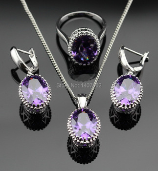 Oval Purple Amethyst Jewelry Sets For Women 925 Sterling Silver Necklace Pendant Earrings Rings Size 6 7 8 9 Free Jewelry Box
