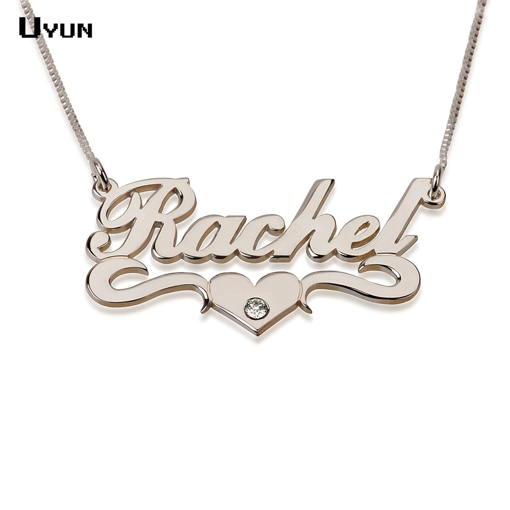 Custom Name Necklace Personalized Silver Carrie Style Nameplate Necklace with Heart Fashion Brithstone Necklaces for Women 2016(China (Mainland))