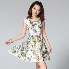 2015 European And American Style Organza Elegant Flowers Printed Cap Sleeve Skater Dresses New Arrival
