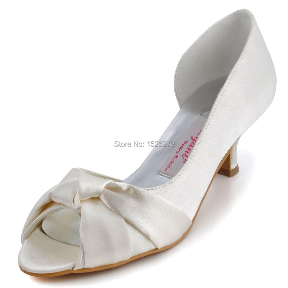 Colors 1201D Fashion Ivory Women Bridal Sandals Prom Party Pumps Peep Toe Pleat Knot Satin Wedding Shoes - Duosheng & Elegant store