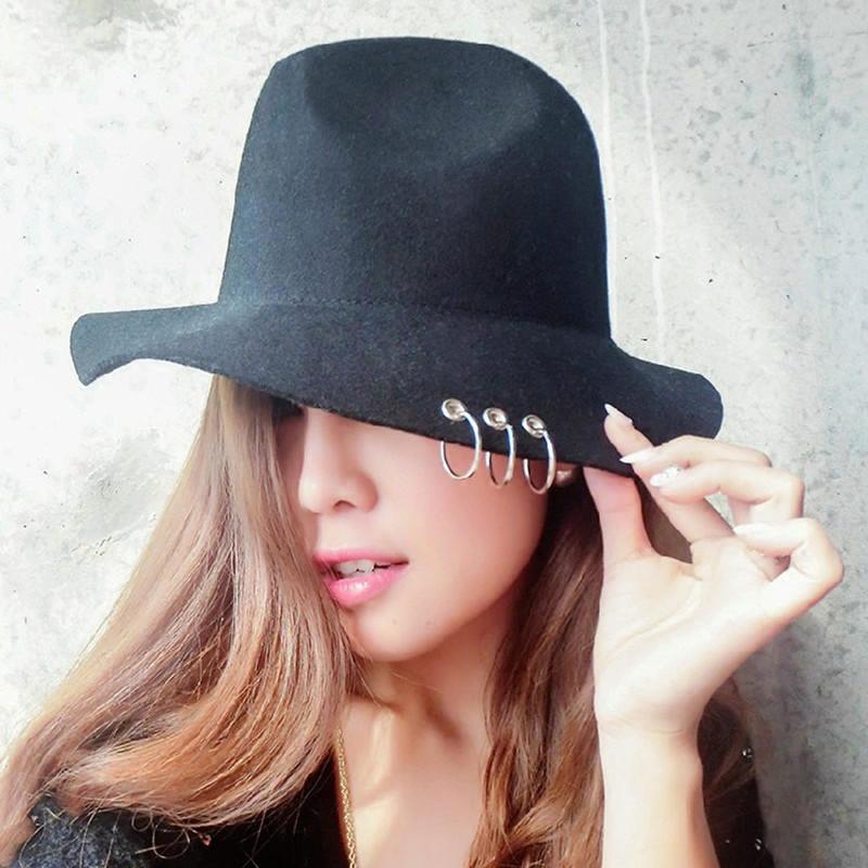 Vintage Woman Winter Fedora Hats Elegant Lady Wool Church Hats Felt Hats Fashion Hot Sale 2016(China (Mainland))