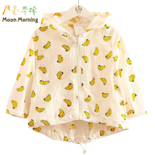 Buy Moon Morning Kids Summer Coat 2T~10T Cotton Banana Print Cool Girls Jackets Long Sleeve Cool Hooded White Stylish Meisjes Fille for $12.13 in AliExpress store
