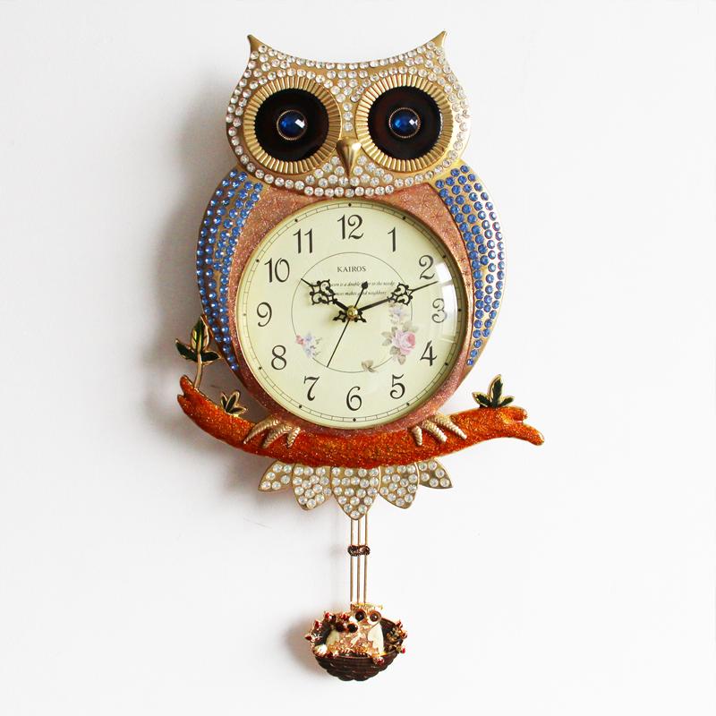 metal mute Owls living room wall clock pendulum clocks European creative fashion cartoons decorative watches  -  Xun Mai Xi Store store