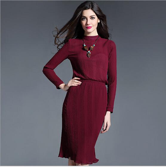 2016 Spring&Autumn Loose Casual Dresses Soild Slim Women Knee-length Long Sleeve Silk Dress Vestidos Plus Size